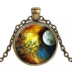 Galaxy moon necklace